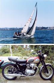 ヨットとバイク